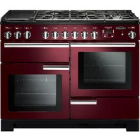 RANGEMASTER Professional Deluxe 110 Dual Fuel Range Cooker - Cranberry and Chrome, Cranberry