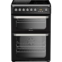 HOTPOINT HUE61K S Electric Ceramic Cooker - Black, Black