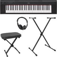YAMAHA NP-12 Piaggero Keyboard Bundle - Black, Black