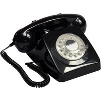 GPO 746 Rotary Corded Phone - Black, Black.