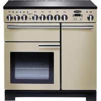 Rangemaster Professional Deluxe 90 Electric Induction Range Cooker - Cream and Chrome, Cream