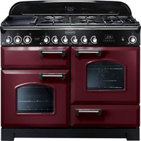 RANGEMASTER Classic Deluxe 110 Dual Fuel Range Cooker - Cranberry & Chrome, Cranberry