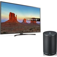 55 Lg 55uk6470plc Smart 4k Ultra Hd Hdr Led Tv & Thinq Wk7 Voice Controlled Speaker Bundle
