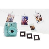 INSTAX mini 9 Instant Camera with Film, Case, LED Peg Lights & Frame Stickers Bundle - Aquamarine, Aquamarine