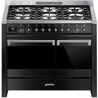 SMEG Opera A2BL-81 100 cm Dual Fuel Range Cooker - Black and Stainless Steel, Stainless Steel