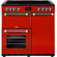 BELLING Kensington 90 cm Electric Ceramic Range Cooker - Red & Chrome