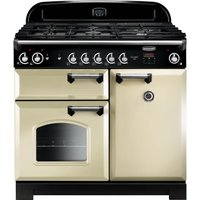 Rangemaster Classic 100 Gas Range Cooker - Cream and Chrome, Cream