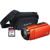 JVC GZ-R495BEK Camcorder & Accessories Bundle - Orange, Orange