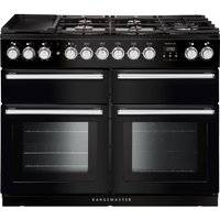 RANGEMASTER Nexus SE NEXSE110DFFBL/C 110 cm Dual Fuel Range Cooker - Black and Chrome, Black