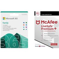 MICROSOFT 365 Family (1 year for 6 users) & LiveSafe Premium (1 year for unlimited devices) Bundle