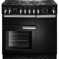 RANGEMASTER Professional+ 90 Gas Range Cooker - Black and Chrome, Black