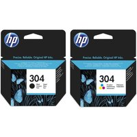 HP Combo 304 Tri-colour & Black Ink Cartridges - Twin Pack, Black