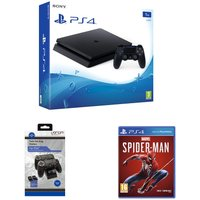 SONY PlayStation 4, Marvel's Spider-Man & Twin Docking Station Bundle, Red