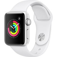 APPLE Watch Series 3 - Silver & White Sports Band, 38 mm, Silver