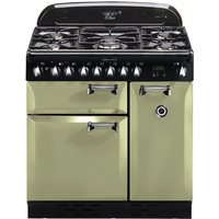 RANGEMASTER Elan 90 Dual Fuel Range Cooker - Olive Green & Chrome, Olive