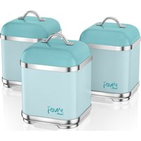 Swan Fearne By Swan Swka1025pkn Square 1.5 Litre Storage Canisters - Peacock, Set Of 3