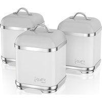 Swan Fearne By Swan Swka1025ten Square 1.5 Litre Storage Canisters - Truffle, Set Of 3