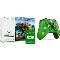 MICROSOFT Xbox One S with Minecraft, Creeper Wireless Controller & LIVE Gold Subscription, Gold