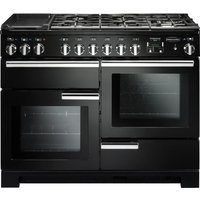 Rangemaster Professional Deluxe 110 Dual Fuel Range Cooker - Black & Chrome, Black