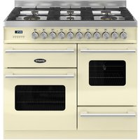 BRITANNIA Delphi 100 XG RC10XGGDECR Dual Fuel Range Cooker - Gloss Cream & Stainless Steel, Stainless Steel