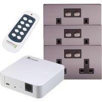 ENERGENIE Mi Home Smart Double Wall Socket Starter Kit - Nickel
