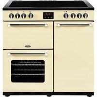 BELLING Kensington 90 cm Electric Ceramic Range Cooker - Cream and Chrome, Cream