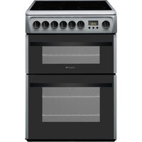 HOTPOINT Newstyle DCN60S 60 cm Electric Ceramic Cooker - Silver& White, Silver
