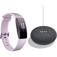 FITBIT Inspire HR Fitness Tracker & Google Home Mini Charcoal Bundle - Lilac, Universal, Charcoal