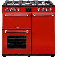 BELLING Kensington 90G Gas Range Cooker - Red and Chrome, Red