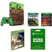 MICROSOFT Xbox One S Minecraft Limited Edition, Assassin's Creed Origins & LIVE Gold Subscription Bundle, Gold