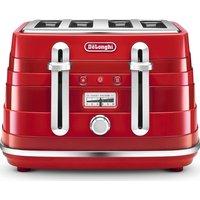 DELONGHI Avvolta CTA4003.R 4-Slice Toaster - Red, Red