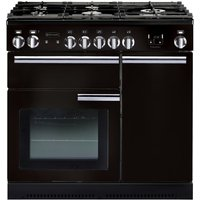 RANGEMASTER Professional 90 Dual Fuel Range Cooker - Black and Chrome, Black