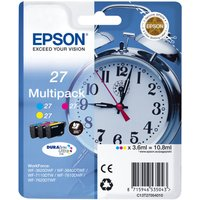 Epson Alarm Clock 27 Cyan, Magenta & Yellow Ink Cartridges - Multipack, Cyan at Currys Electrical Store