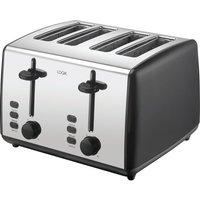 L04TBK19 4-Slice Toaster - Black & Silver, Black