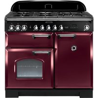 Rangemaster Classic Deluxe 100 Dual Fuel Range Cooker - Cranberry and Chrome, Cranberry