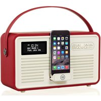 Viewquest Retro Mk II Portable DAB Bluetooth Clock Radio - Red, Red