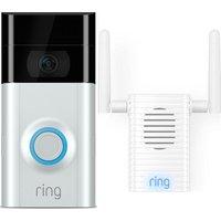 RING Video Doorbell 2 & Chime Pro Wi-Fi Extender & Indoor Door Chime Bundle