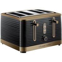Inspire Luxe 24385 4-Slice Toaster - Black & Brass, Black