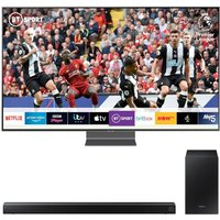 "65"" Samsung QE65Q90RATXXU  Smart 4K Ultra HD HDR QLED TV with Bixby & HW-R550 2.1 Wireless Sound Bar Bundle, Black"