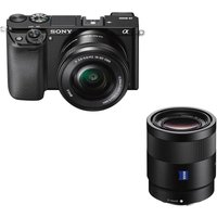 Sony A6000 Mirrorless Camera With 16-50 Mm F/3.5-5.6 & 55 Mm F/1.8 Lens Bundle, White