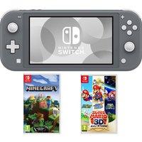 NINTENDO Switch Lite, Minecraft & Super Mario 3D All-Stars Bundle - Grey, Grey