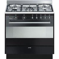 SMEG Concert 90 cm Dual Fuel Range Cooker - Black, Black