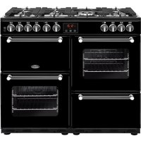 BELLING Kensington 100DFT Dual Fuel Range Cooker - Black and Chrome, Black