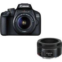 CANON EOS 4000D DSLR Camera, EF-S 18-55 mm f/3.5-5.6 III Lens & EF 50 mm f/1.8 STM Standard Prime Lens Bundle