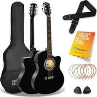 3RD AVENUE Cutaway Electro-Acoustic Guitar Bundle - Black, Black