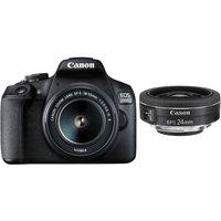 CANON EOS 2000D DSLR Camera with EF-S 18-55 mm f/3.5-5.6 IS II & EF-S 24 mm f/2.8 STM Lens Bundle