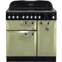 RANGEMASTER Elan 90 Electric Induction Range Cooker - Olive Green & Chrome, Olive