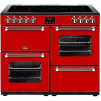 BELLING Kensington 100E Electric Ceramic Range Cooker - Red & Chrome, Red