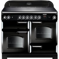 Rangemaster Classic CLA110ECBL/C Electric Ceramic Range Cooker - Black and Chrome, Black