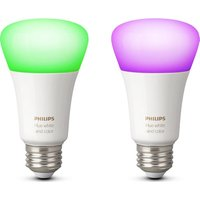 Philips Hue White & Colour Ambience Wireless Bulb - E27, Twin Pack, White